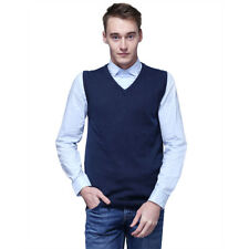Mens Winter Sweater Knitted Vest Warm Cashmere Wool V Neck Sleeveless Pullover