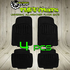 UNIVERSAL RUGGED TUFF 4 PCS NEW FLOOR MATS BLACK TRIM CUT ALL WEATHER HEAVY DUTY