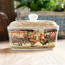 Butter Dish with Lid Ceramic Serving Bowl Dining Table Farm Animal Chickens Hen