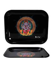 Black Leaf Metal Mixing & Rolling Tray - X Small 18cm x 14cm - Ganesh
