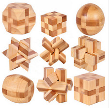 IQ Brain Teaser Lock 3D Wooden Interlocking Puzzles Game Toy Gift - 5x psc