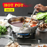 Durable Stainless Steel Hot Pot Cooker 2 Ways Chafing Dish 38cm For Kitchen H