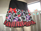 NEW Black white red Casino Dice striped Lace Skirt Party Rockabilly Cosplay Rock