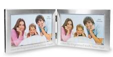 """6""""x4"""" personalizzato doppia cornice foto con finitura spazzolata-incisa"""
