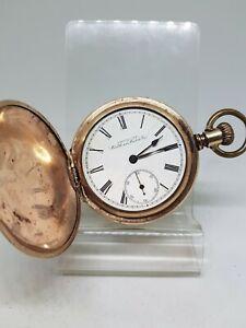 Vintage gold filled full hunter Waltham mass pocket watch working