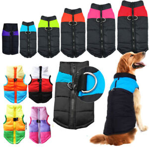 Pet Dog Warm Insulated Padded Coat Winter Puffer Jacket Zip Up Shirt Clothe M