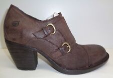 Born Size 7 M DAVIS Dark Brown Leather Ankle Heels Boots New Womens Shoes