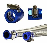 """To Fit 16mm 5/8"""" OD Fuel Oil Water Line Hose End Finishers Clip Clamp - BLUE 2x"""