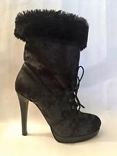 BOTTINES PINKO SUEDE CUIR FOURRURE NEUF TALON PLATEAU SEXY SOLDE OUT 39