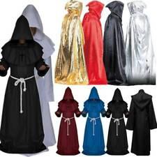 Mens Cape Cloak Fancy Dress Vampire Costume Monk Robe Halloween Cosplay Hooded