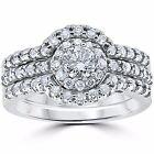 1.25 CT Diamond Engagement Ring Matching Wedding Band Guard Set 14K White Gold