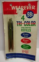 Vintage Wearever Tri-Color Pen Refills Blue Red Green In Torn Package