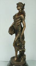 """SIGNED: H.F.Moreau, Bronze statue girl holding baskets of grapes """"AUTOMNE"""""""