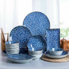 Japanese Crockery Blue Ceramic Dinner Plates Dish Bowl Serving Dining Tableware