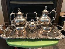 6 Piece Birmingham? Silver on Copper Tea Pot and Silver Plate Tray Creamer Sugar
