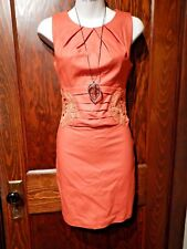 ORANGE FAUX LEATHER PLEATED LACE DRESS cut out pintucked wax coated mini 1 XS 2F