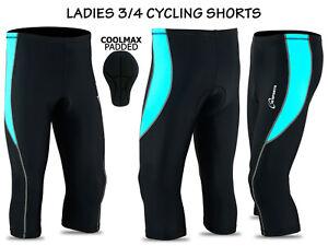 Women Cycling Tights 3/4 Shorts Padded Ladies Leggings Anti Bac Coolmax Pad 3S