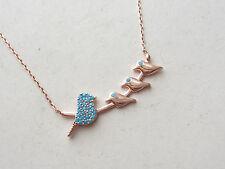 3dff9e7e9104 Turco Oro Rosa Plata de Ley 925 Cadena de la Suerte Collar con Birds  Turquesa