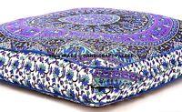 Indian Elephant Mandala Floor Pillow Square Ottoman Meditation Large Dog/Cat Bed