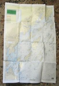 1997 Waterproof 2-Sided Nautical Chart of CASCO BAY, Maine - Portland, Harpswell