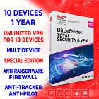 Bitdefender Total Premium Security 2021 & unlimited VPN 10 devices 1 Jahr