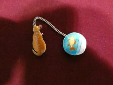 Vintage Enamel on Metal Cat and Fish Two-Piece Brooch