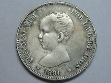 SPAIN 1891 2 PESETAS ALFONSO XIII SILVER RARE GENUINE COIN RARA