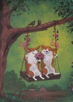 ACEO RYTA ART PEMBROKE WELSH CORGI  PRINT OF PAINTING SPRING SWING SUNNY DAY DOG