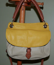 Street Level Taupe & Yellow Two-tone Cross Body Messenger Bag Leather Free