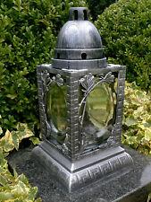 Grablaterne Grablampe Grabschmuck Grableuchte Grablicht in Silber inkl Grabkerze