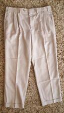 PATRICK JAMES Men's Pleated Beige Cuffed Pants Size 36
