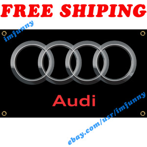 Audi Logo Banner Flag 3x5 ft Racing Car Show Garage Wall Decor Sign Gift NEW