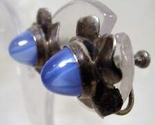 Art Deco Sterling Silver Faux Blue Glass Star Sapphire Screw Back Earrings