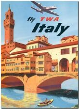 "Cool Retro Travel Poster *FRAMED* CANVAS ART Italy TWA Air 20x16"""