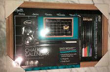 New listing Monthly Calendar Dark Magnetic Chalk Board 11x 17 Colored Chalk Pencils Included