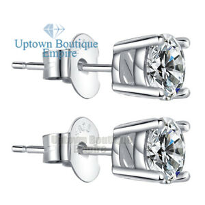 Men Women's 925 Sterling Silver Round Stud Earrings CZ 2,3,4,5,6,7,8,9,10mm