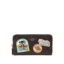 NEW WOMENS COACH X DISNEY (F31350) MINNIE MOUSE BROWN SIGNATURE LEATHER WALLET