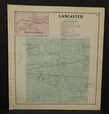 New York Erie County Map Lancaster Township  c1866  W12#01