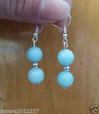 Lovely Tibetan silver light blue jade faceted beads Dangle Earrings