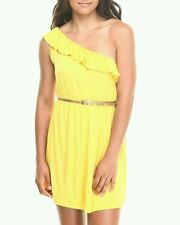 Yellow Belted One Shoulder Ruffle Dress, Large