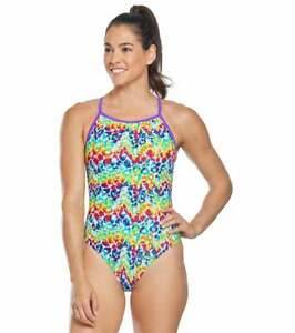 The Finals Women's Rainbow Roar Animal Print Flutter Back One Piece Swimsuit $34