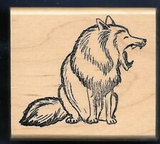 HUSKY MALAMUTE SLED MUSH DOG Yawn WOLF Animal COWTOWN 1635 CRAFT RUBBER STAMP