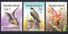Belgium 1987 Birds/Raptors/Bats/Orchid/Flower 3v n31932