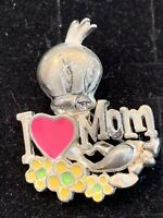 Tweety Bird Pin Mother's Day I Love Mom Pewter Enamel Warner Brothers 1998