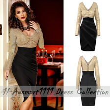 Sexy V Neck Sequin Long Sleeve Tulip Wrap Midi Slim Formal Evening Party Dress