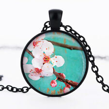 Pink Berry Blossom Tree photo dome Black Cabochon Glass Necklace chain Pendant