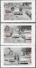 3 Vintage Car Photos USA Drinking Team 1957 Ford Convertible 1955 Chevy 728235