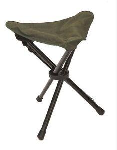 Dreibein Klapphocker outdoor camping freizeit hocker Stuhl Klappstuhl oliv