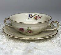 Elfenbein Rosenthal Viktoria Lombul Gold Trim Flat Cream Soup Bowl & Saucer Set
