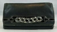 Brighton Black Pebbled Leather with Two-Tone Chain, Tri-Fold Snap Clutch Wallet